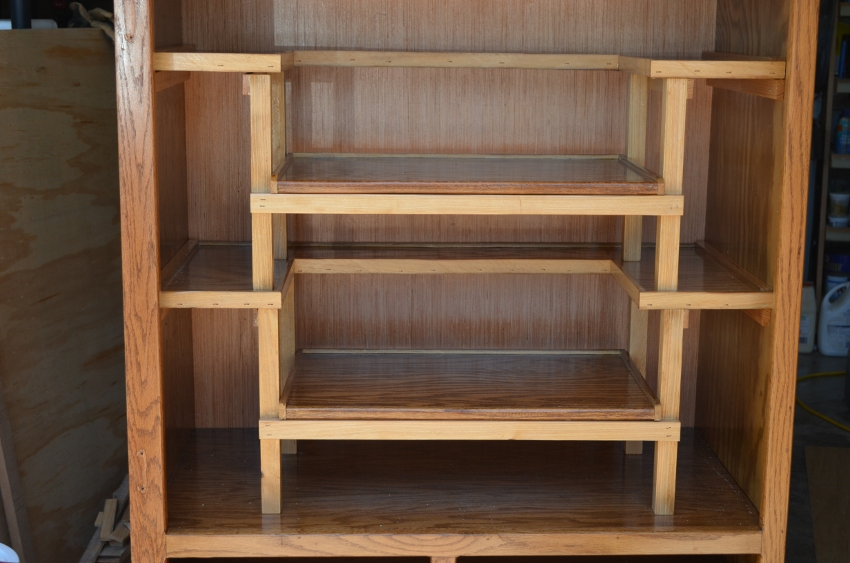 Here are the shelves in place. Notice the side supports for each U shaped shelf
